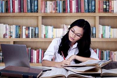 Student studying for First Certificate exams